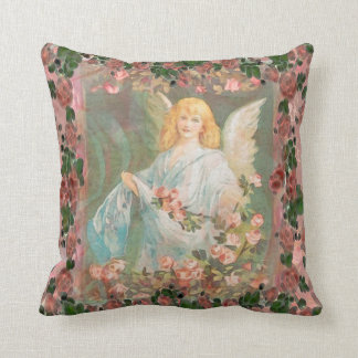 Guardian Angel with Pink Roses Throw Pillows