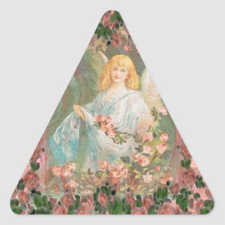 Guardian Angel with Pink Roses Triangle Sticker