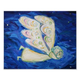 Guardian Angel with Sleeping Baby Poster Art Print