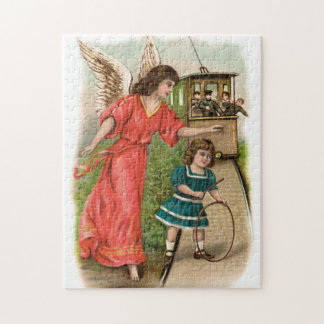 Guardian angels girl and tram Vintage Jigsaw Puzzle
