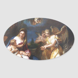 Guardian Angels Offering Gifts Oval Sticker
