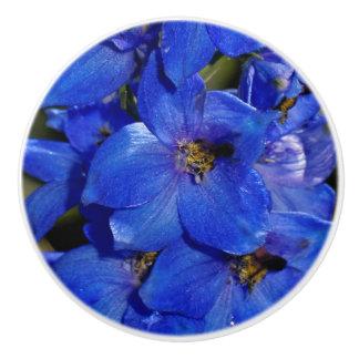 Guardian Blue Delphiniums Larkspur Ceramic Knob