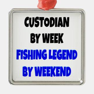 Guardián de la leyenda de la pesca adorno cuadrado plateado