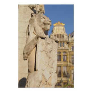Guardian lion on entry to medieval town hall poster