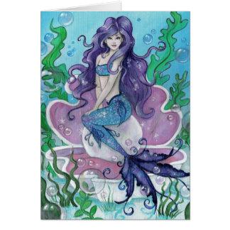 """Guardian of the Pearl"" mermaid greeting card"