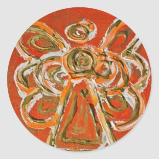 Guardian Orange Angel Art Custom Stickers