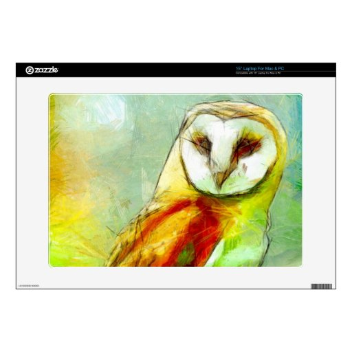 """Guardian Owl Decal For 15"""" Laptop"""
