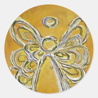 Guardian Yellow Angel Art Custom Stickers