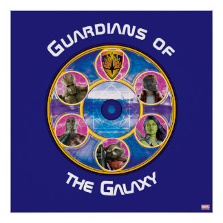 Guardians of the Galaxy   Crew In Neon Circles Poster