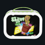 "Guardians of the Galaxy | Get Your Groot On Lunch Box<br><div class=""desc"">Check out Baby Groot disco dancing with colored lights and text that reads &quot;Get your groot on&quot;! Personalize your Baby Groot gear by clicking the customize button to get started! Add your own caption or name by adding text,  or resize the image to focus on your favorite part!</div>"