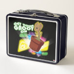 """Guardians of the Galaxy   Get Your Groot On Metal Lunch Box<br><div class=""""desc"""">Check out Baby Groot disco dancing with colored lights and text that reads &quot;Get your groot on&quot;! Personalize your Baby Groot gear by clicking the customize button to get started! Add your own caption or name by adding text,  or resize the image to focus on your favorite part!</div>"""