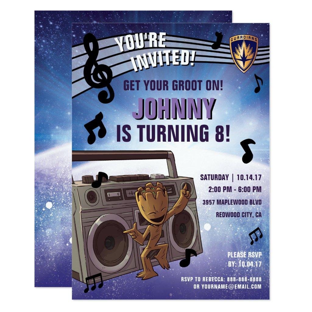 Guardians of the Galaxy - Groot - Birthday Invitation
