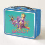 """Guardians of the Galaxy   Groot Neon Graphic Metal Lunch Box<br><div class=""""desc"""">This technicolor neon graphic features Groot on a rough textured background. Personalize your Groot gear by clicking the customize button to get started! Add your own caption or name by adding text,  or resize the image to focus on your favorite part!</div>"""