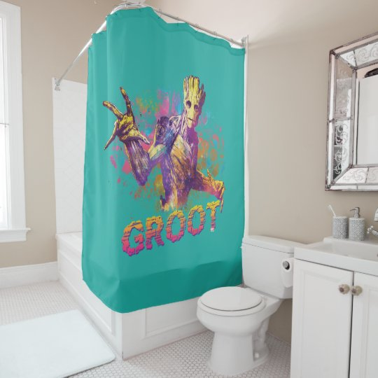 Cool Guardians Of The Galaxy Groot Neon Graphic Shower Curtain Theyellowbook Wood Chair Design Ideas Theyellowbookinfo
