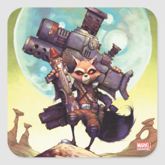 Guardians of the Galaxy | Rocket Armed & Ready Square Sticker