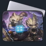 "Guardians of the Galaxy | Rocket &amp; Groot Attack Computer Sleeve<br><div class=""desc"">Rocket and Groot take aim and attack! Debris from their space battle float around them as the purple stars and blue glow of space ships are behind them. Personalize your Rocket and Groot gear by clicking the customize button to get started! Add your own caption or name by adding text,...</div>"