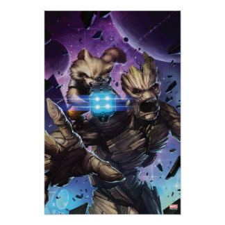 Guardians of the Galaxy | Rocket & Groot Attack Poster