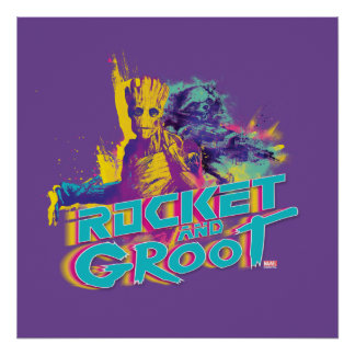 Guardians of the Galaxy | Rocket & Groot Neon Art Poster