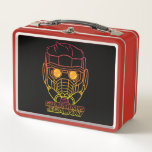 """Guardians of the Galaxy   Star-Lord Neon Outline Metal Lunch Box<br><div class=""""desc"""">Check out this retro-inspired 80s neon gradient outline of Star-Lord&#39;s helmet! Personalize your Star-Lord gear by clicking the customize button to get started! Add your own caption or name by adding text,  or resize the image to focus on your favorite part!</div>"""