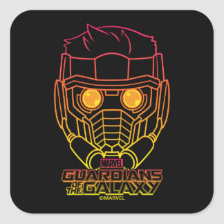 Guardians of the Galaxy | Star-Lord Neon Outline Square Sticker