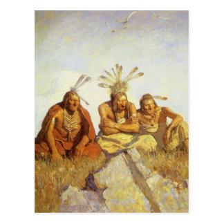 Guardians War or Peace by NC Wyeth, Vintage West Postcard