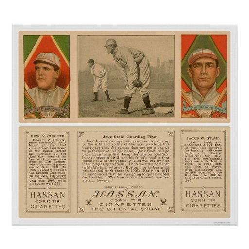 Guarding First Red Sox Baseball 1912 Poster