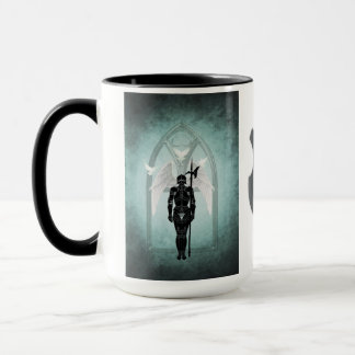 Guarding Heavens Gate Teal Knight Mug
