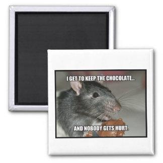 Guardo el chocolate que nadie consigue daño imán cuadrado
