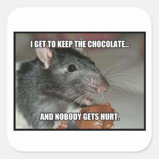 Guardo el chocolate que nadie consigue daño pegatina cuadrada