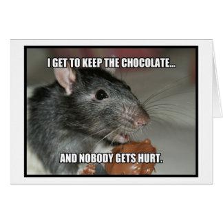 Guardo el chocolate que nadie consigue daño tarjeta de felicitación