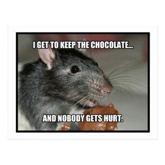 Guardo el chocolate que nadie consigue daño tarjetas postales