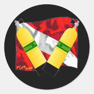 Guarida-Banderas de los buceadores Etiquetas Redondas