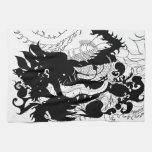 Guarida de los dragones (silueta) toalla de cocina