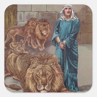 Guarida de los leones de Daniel Pegatina Cuadrada