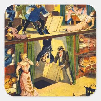 Guarida de opio del vintage del vodevil retro del pegatina cuadrada