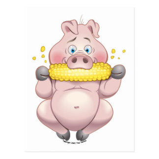 Guarro rosado del Bbq del maíz dulce Postal