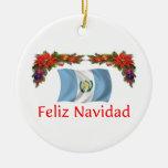 Guatemala Christmas Double-Sided Ceramic Round Christmas Ornament