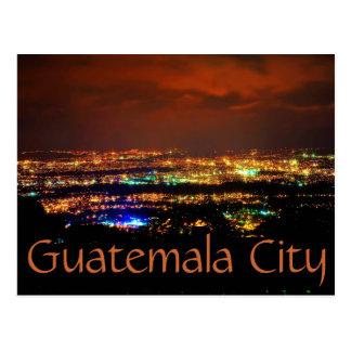 Guatemala City, Guatemala, C.A. at night. Postcard