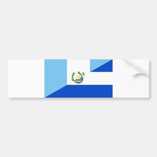 Guatemala El Salvador Half Flag Country Symbol Bumper Sticker
