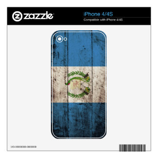 Guatemala Flag on Old Wood Grain Decal For iPhone 4