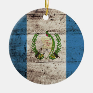 Guatemala Flag on Old Wood Grain Double-Sided Ceramic Round Christmas Ornament