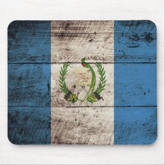 Guatemala Flag on Old Wood Grain Mouse Pad