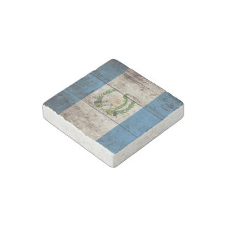 Guatemala Flag on Old Wood Grain Stone Magnet