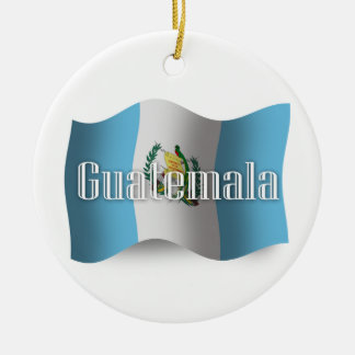 Guatemala Waving Flag Double-Sided Ceramic Round Christmas Ornament