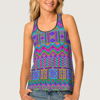 Guatemalan Aztec Pattern Bright Colors Girly Chic Tank Top