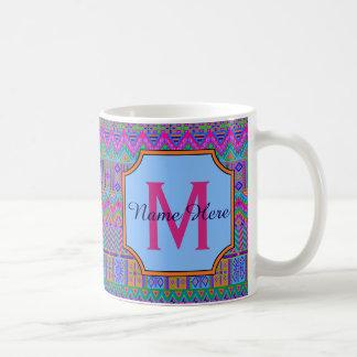 Guatemalan Aztec Pattern Bright Colors Monogram Coffee Mug