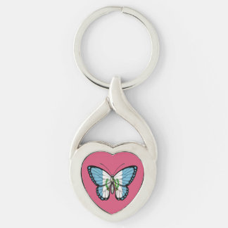 Guatemalan Butterfly Flag Keychain
