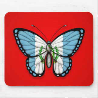 Guatemalan Butterfly Flag on Red Mouse Pad