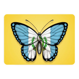 """Guatemalan Butterfly Flag on Yellow 5"""" X 7"""" Invitation Card"""