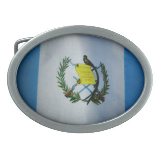 Guatemalan Flag Oval Belt Buckle
